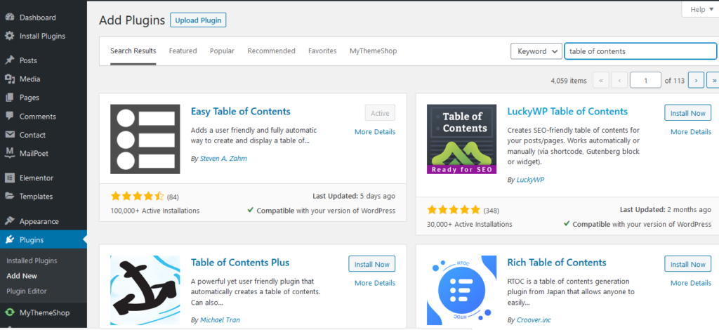 Table of contents wordpress pluggin