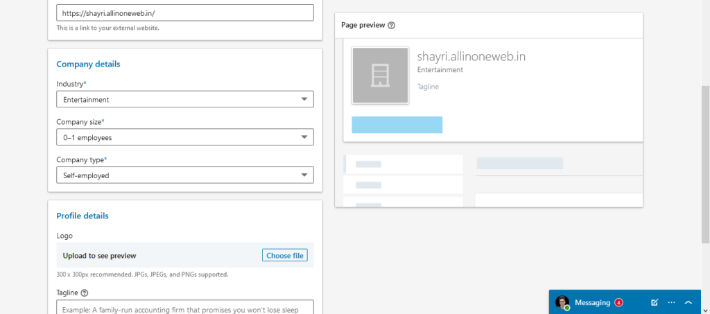 Create linkedin Business page